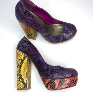 Mia Uptown Girl Multi Snakeprint Heels